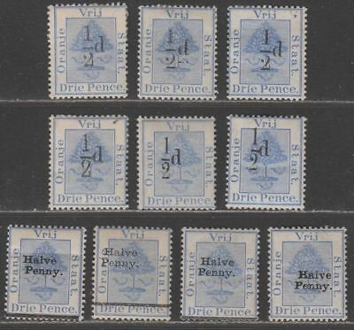 Orange Free State 1896 ½d Surcharge Selection Mint inc varieties