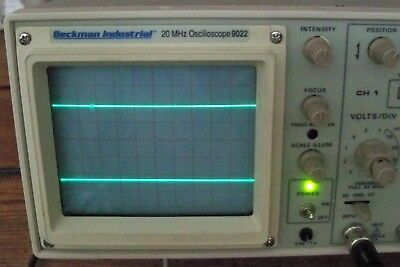 Beckman Industrial 2 Channel 20 MHz Oscilloscope 9022 Test Cable & Power Cord
