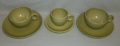 """Vintage """"Russel Wright"""" Casual China Avocado """"Iroquois"""" 3-Cups, 2-Saucers, Plate"""