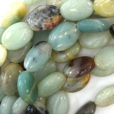"""14mm multicolor blue amazonite flat oval beads 15"""" strand"""