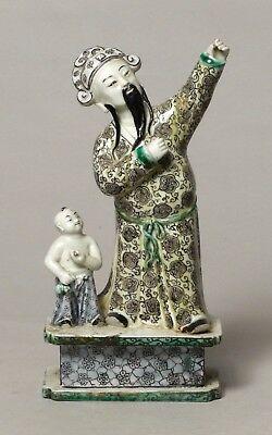 Superb Antique Chinese Porcelain Kangxi Period Famille Verte Figure Young Buddha