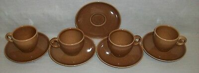 """Vintage """"Russel Wright"""" Casual China Ripe Apricot """"Iroquois"""" 4-Tea Cup 5-Saucers"""