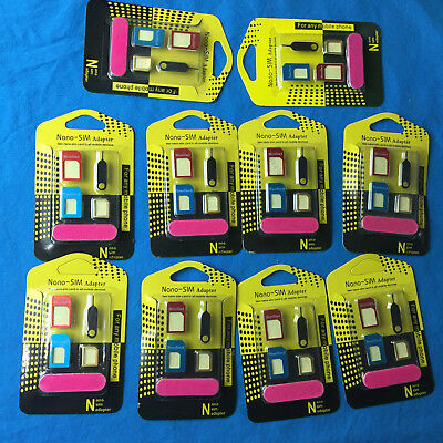 Lot of 10 5 IN 1 Nano SIM Card to Micro Standard Adapter Converter Set for iPhon