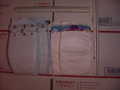 2 Vintage Luvs Deluxe (1990) XL diapers and 9 other Plastic Style diapers L/XL