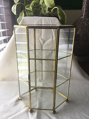 Vintage Hexagon 3 Tier Brass & Glass Miniature Footed Curio Display Cabinet Case
