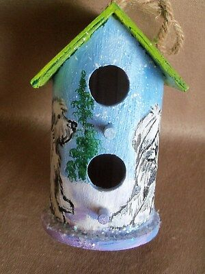 HP Old English Sheepdog Birdhouse ornament mini painting hand painted dog art