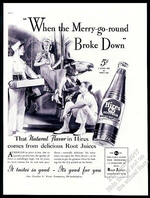 1937 carousel horse merry go round photo Hires Root Beer vintage print ad