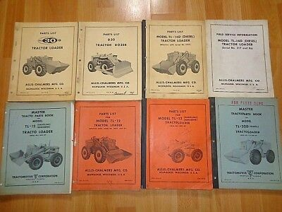 8 old Allis Chalmers tractor loader TractoLoader parts books parts lists good *