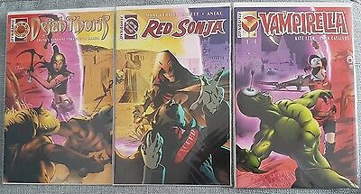 Ltd 500 Vampirella Red Sonja Dejah Thoris #1 connecting variants Exceed comics