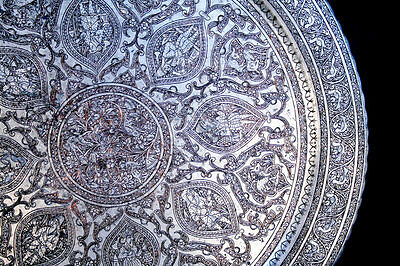 Very Fine Antique Persian -Islamic - Middle-Eastern Ornate Engraved Copper Tray