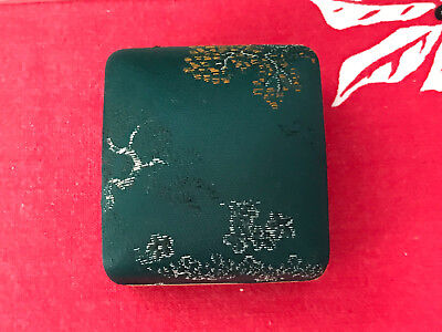 #1 Hawaiian Mings Green Fabric Covered Jewelry Box For Ring