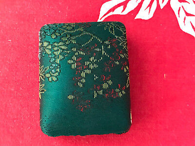 #12 Hawaiian Mings Green Fabric Covered Jewelry Box For Earrings