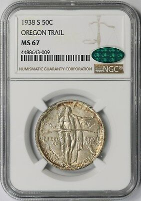 1938-S Oregon Trail 50C NGC/CAC MS 67 Early Silver Commemorative Half Dollar