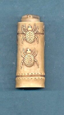 Vintage Beetle Bamboo Hand Carved  Snuff Bottle With Spoon  902