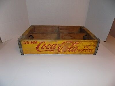 Vintage Yellow Coca-Cola Wooden Soda Crate w/Dividers