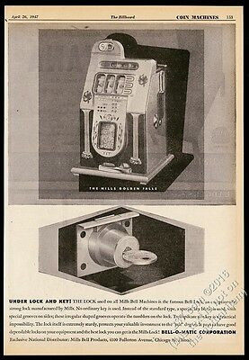 1947 Bell-O-Matic Mills Golden Falls slot machine photo vintage trade print ad