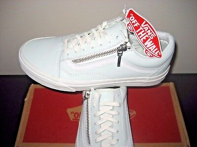 9bb73c08b6 VANS WOMENS OLD Skool Zip Leather Zephyr Blue Blanc De Blanc Shoes Size 10  NWT