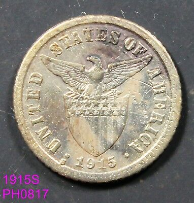 PHILIPPINES 10 Centavos 1915-S circulated with some marks and stains key date