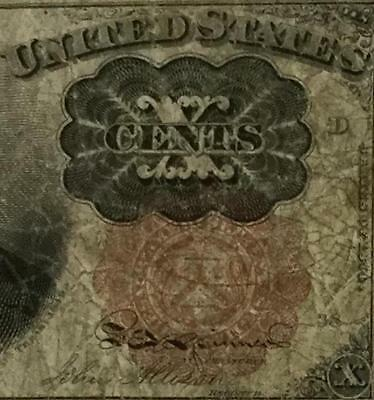 """1874 US Fractional Currency """"TEN CENTS"""" VG Old US Paper Money Currency"""