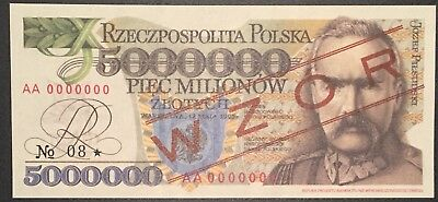 1995 Polish Note 5000000 Złotych SPECIMEN. ***VERY RARE***