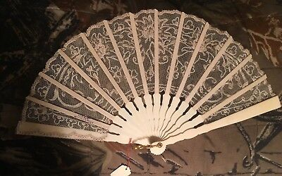 """Antique French 6"""" White Lace Hand Fan / Singed"""