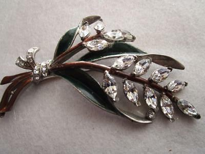 Vintage Antique Enamel And Clear Rhinestone Floral Silver Tone Brooch