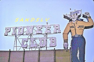 35mm Color Slide of the Pioneer Club Cowboy Sign Las Vegas Street View 1969
