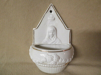 Antique German Holy Water Font  Mary & Roses  Made In Germany 9736