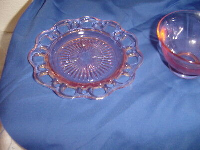 Depression glass pink Old Colony Open Lace   cup & saucer  ribbed