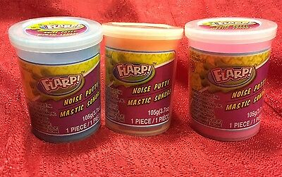 Lot Of 3 Ja-Ru Flarp Fart Noise Putty Brand New 3.7 Oz Each Different Colors