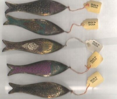 Vintage Painted Brass Fish From India 5 Different Designs