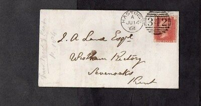1864.QV.COVER.1d RED PLATE No.90.NICE STRIKE OF THE 'HASTINGS' DUPLEX D/S.