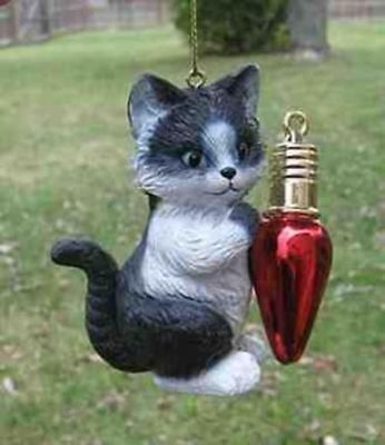Cat with Bulb BLACK/WHT Resin Christmas Ornament CLEARANCE SALE
