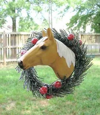 Holiday PALOMINO HORSE in Wreath Christmas Ornament OVERSTOCK SALE