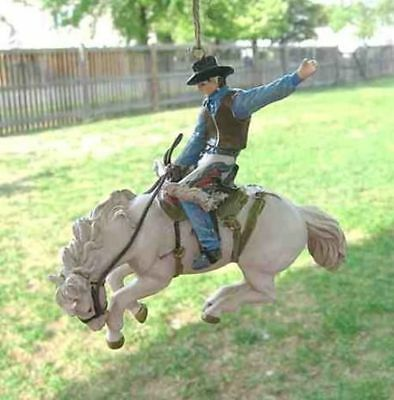 Holiday Rodeo BRONC RIDER Horse Resin Christmas Ornament CLEARANCE SALE
