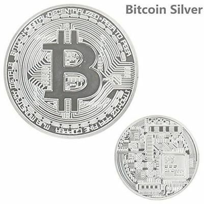 BITCOIN!! Silver Plated Physical Bitcoin in protective acrylic case FAST SHIPPIN