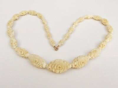 Vintage Chinese Carved Bovine Bone Flower Necklace