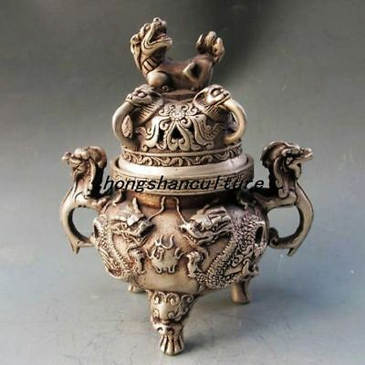 Chinese Silver Copper Incense Burner & Lid W Ming Dynasty Xuan De Mark