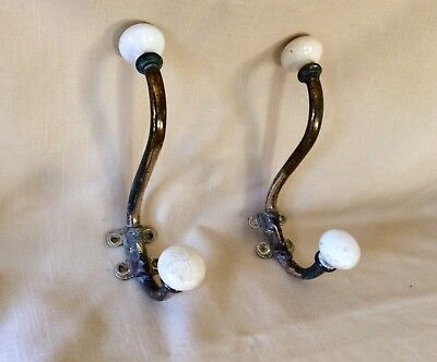 An Original Vintage Pair Of French Brass And Ceramic Coat Hooks