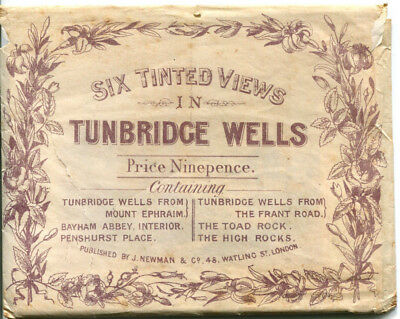 1890s packet containing SIX TINTED VIEWS IN TUNBRIDGE WELLS Kent