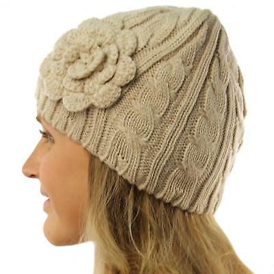 Ladies Winter Floral Crochet Soft Stretchy Cable Knit Skull Beanie Hat Cap Beige