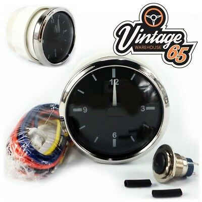 Oldtimer Chrom 52mm Armaturenbrett analog Zeituhr 12V OE-stil MG MINI TR6