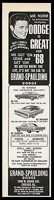 1968 Mr. Norm Grand Spaulding Dodge Charger RT Magnum Dart GTS 3 car print ad