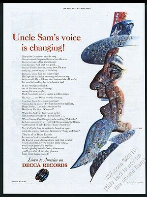 1945 Uncle Sam color art Decca Records vintage print ad