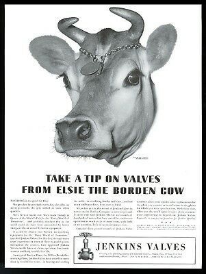 1942 Elsie the Borden cow BIG photo Jenkins Valves vintage print ad