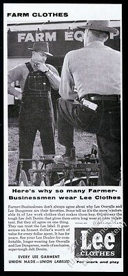 1955 Lee overalls blue jeans farmer photo Union-Made clothes vintage print ad