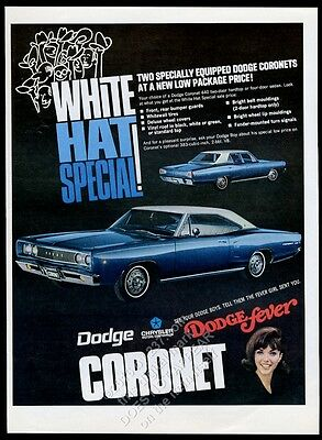 1968 Dodge Coronet 440 White Hat Special b5 blue car photo vintage print ad