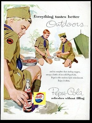1960 Pepsi Cola Boy Scout scouts camping camp illustrated vintage print ad