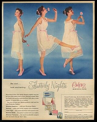 1958 Flutterby lingerie lace nightie 3 woman photo Modess vintage print ad
