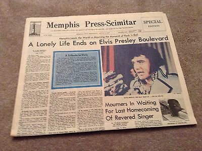 ELVIS Presley Paper MEMPHIS PRESS-SCIMITAR  DEATH Day After TRIBUTE Newspaper